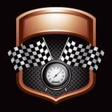 Indicateurs et indicateur de vitesse Checkered sur l'affichage en bronze Photo stock