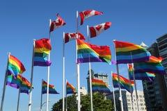 Indicateurs homosexuels d'arc-en-ciel de fierté, Vancouver photographie stock libre de droits