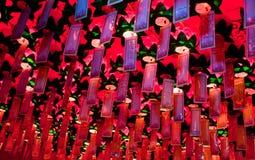 Indicateurs rituels de souhait de temple bouddhiste de Yakcheonsa Image libre de droits