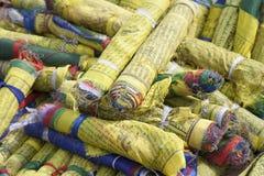 Indicateurs roulés de prière chez Swayambhunath, Katmandou Image libre de droits