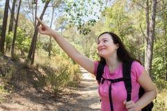 Indicating hiker Stock Photo