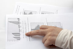 Indicating report with the finger. White background stock images