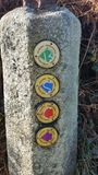 Indication for coastal paths. A Stone with indication for several coastal paths Royalty Free Stock Image