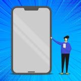 Indication debout de personne le mobile énorme d'écran vide avec l'effet brillant et tenir un instrument Homme présent le géant illustration de vecteur