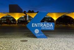 Indication for the entrance of Lisbon Aquarium Stock Photos