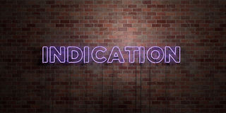 INDICATION - fluorescent Neon tube Sign on brickwork - Front view - 3D rendered royalty free stock picture. Can be used for online banner ads and direct Stock Photos