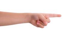 Indication par les doigts d'index de bébé d'isolement Photographie stock libre de droits