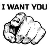 Indication par les doigts de main directement sur vous Photo libre de droits