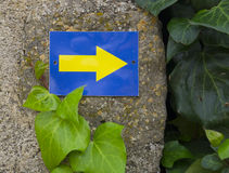 Indication sign direction arrow on the Way of St. James Royalty Free Stock Images