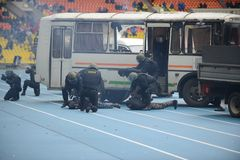Indicative detention by the police of criminal. MOSCOW, RUSSIA - OCTOBER 19, 2013:Special-purpose Units of the army and police are designed for special events Stock Photo
