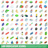 100 indicator icons set, isometric 3d style. 100 indicator icons set in isometric 3d style for any design vector illustration Stock Images