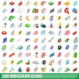 100 indicator icons set, isometric 3d style. 100 indicator icons set in isometric 3d style for any design vector illustration Royalty Free Illustration
