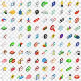 100 indicator icons set, isometric 3d style. 100 indicator icons set in isometric 3d style for any design vector illustration Royalty Free Stock Images
