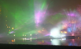 Laser show in Lodz. Royalty Free Stock Images