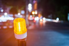 Indicator light. Light of construction zone on the road of the night city Stock Photos