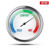 Indicator meter of comfort. Indicator meter of comfort between cold and hot. Vector Illustration on white background royalty free illustration