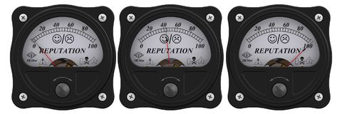 Indicator of reputation. Analog indicator showing the level of reputation. 3D Illustration. Isolated Royalty Free Stock Photos