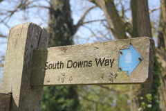 Indicator for the South Downs Way Stock Image