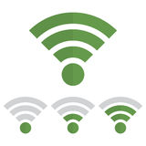Indicator wifi communication set in green color on a white background Stock Images