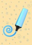 Indicatore blu di vettore con la spirale tirata Fotografia Stock