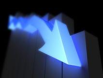 Indicatore blu giù Immagine Stock