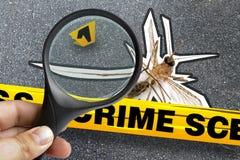 Indicatore d'ingrandimento della scena del crimine morta del primo piano della zanzara Immagini Stock Libere da Diritti