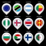 Indicatore della mappa con il secondo bandiera messo Fotografie Stock