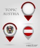 Indicatore della mappa dell'Austria di argomento Immagini Stock