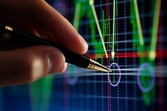 Indicatore della penna e della mano, diagramma Fotografia Stock