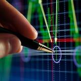Indicatore della penna e della mano, diagramma Immagine Stock Libera da Diritti