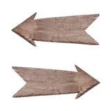 Indicatore di legno al di destra e di sinistra Immagini Stock