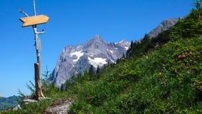 Indicatore di legno della traccia con lo spazio della copia nelle alpi svizzere Fotografie Stock