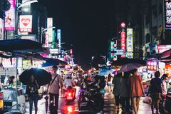 Indicatore di notte, Kaohsiung, Taiwan fotografie stock