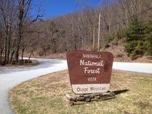 Indicatore di vista della foresta nazionale di Nantahala immagini stock