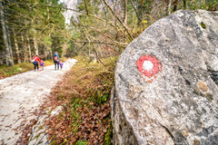 Indicatore e viandanti della montagna su una traccia Fotografie Stock Libere da Diritti