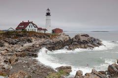 Indicatore luminoso capo di Portland, capo Elizabeth, Maine, S.U.A. Immagine Stock