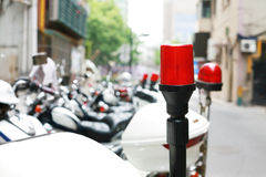 Indicatore luminoso del motociclo della polizia Fotografie Stock