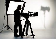 Indicatore luminoso dello studio su posizione per la scena di film. immagini stock libere da diritti