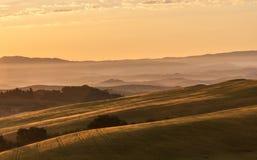 Indicatore luminoso di primo mattino in Toscana Fotografia Stock