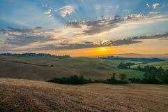 Indicatore luminoso di primo mattino in Toscana Immagine Stock Libera da Diritti