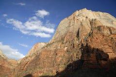 Indicatore luminoso di sera in canyon di Zion fotografia stock libera da diritti
