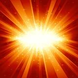 Indicatore luminoso dorato rosso scoppiato con le stelle illustrazione vettoriale
