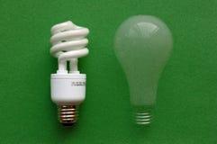 Indicatore luminoso fluorescente (CFL) & incandescente compatti Fotografia Stock Libera da Diritti