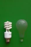 Indicatore luminoso fluorescente compatto, sbiadirsi incandescente Fotografie Stock