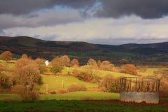 Indicatore luminoso nelle colline di Lingua gallese fotografie stock libere da diritti