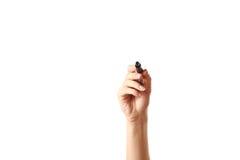 Indicatore in mano della donna Fotografie Stock Libere da Diritti