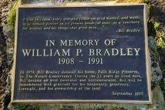 Indicatore per commemorare donazione di William P bradley fotografia stock