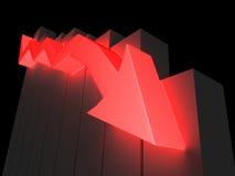 Indicatore rosso giù Fotografie Stock