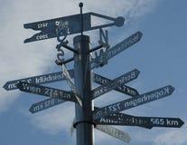 Indicatore stradale con la distanza delle città Fotografia Stock