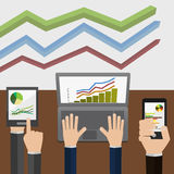 Indicatoren en statistieken, wat wordt getoond Stock Afbeeldingen